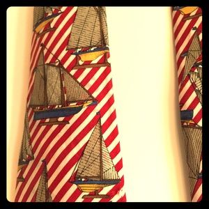 Land's End Men's silk tie red stripe/sailboats